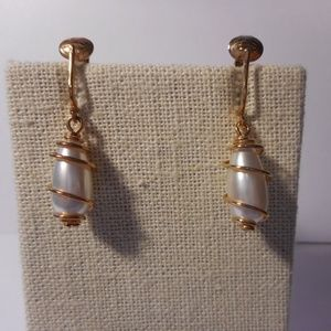Sarah Coventry Caged Pearl Gold Tone Clip Earrings